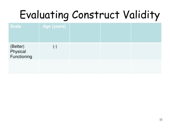 Evaluating Construct Validity
