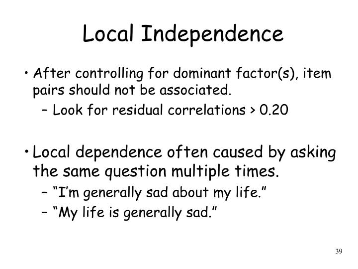 Local Independence