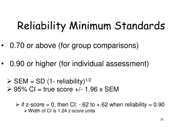 Reliability Minimum Standards