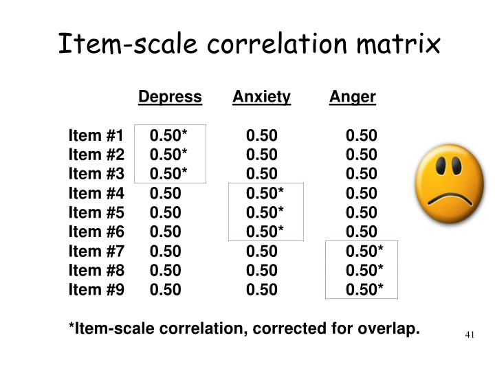 Item-scale correlation matrix