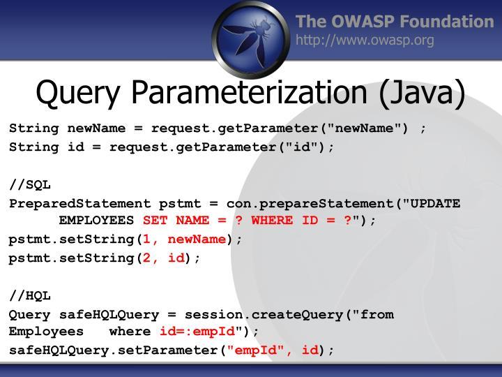 Query Parameterization (Java)