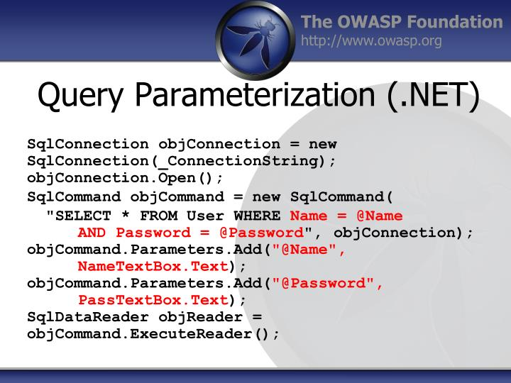 Query Parameterization (.NET)