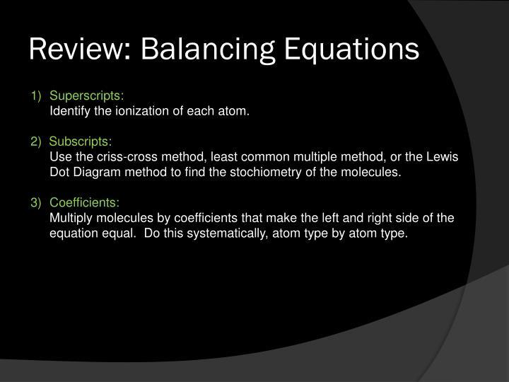 Review: Balancing Equations