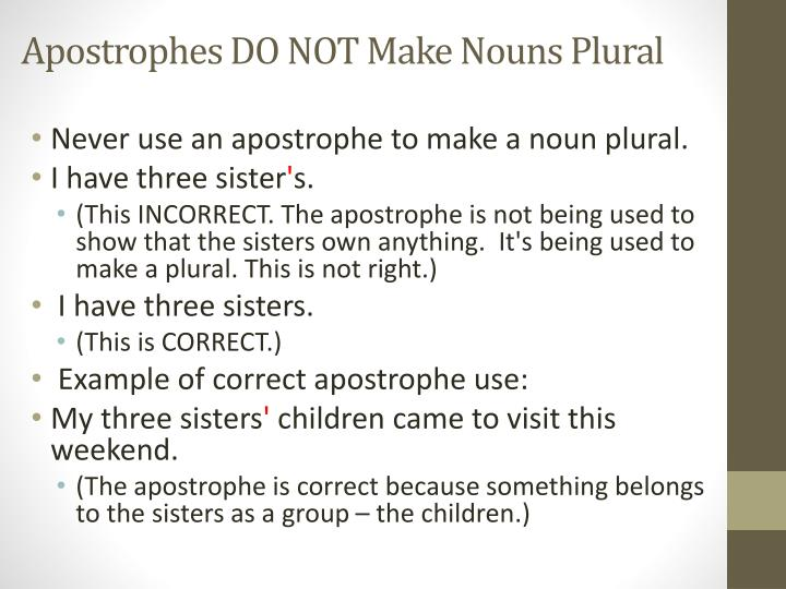 Apostrophes DO NOT Make Nouns Plural