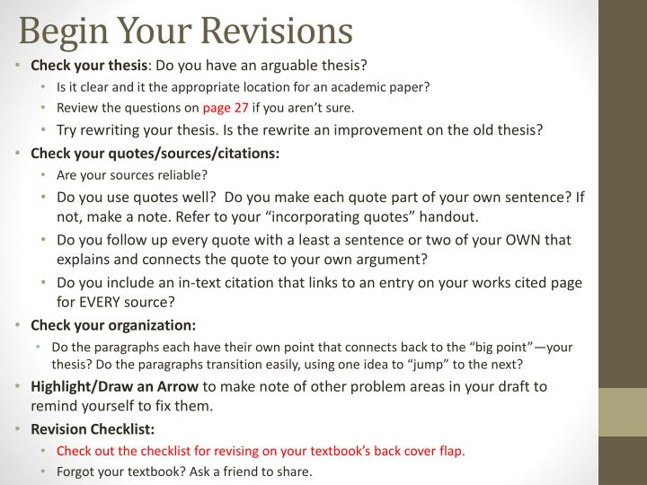 Begin Your Revisions
