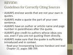 review guidelines for correctly citing sources
