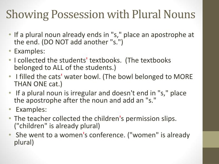 Showing Possession with Plural Nouns