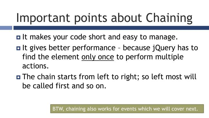 Important points about Chaining