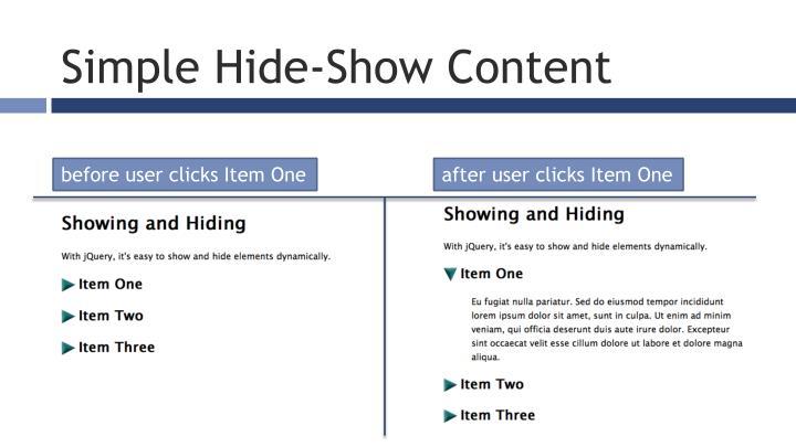 Simple Hide-Show Content
