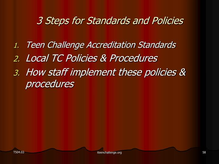 3 Steps for Standards and Policies