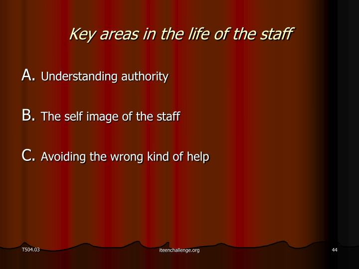 Key areas in the life of the staff
