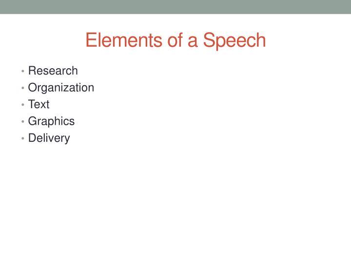Elements of a Speech