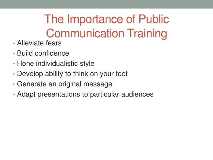 The Importance of Public Communication Training