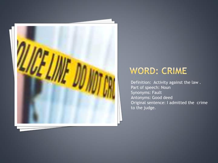 Word: crime