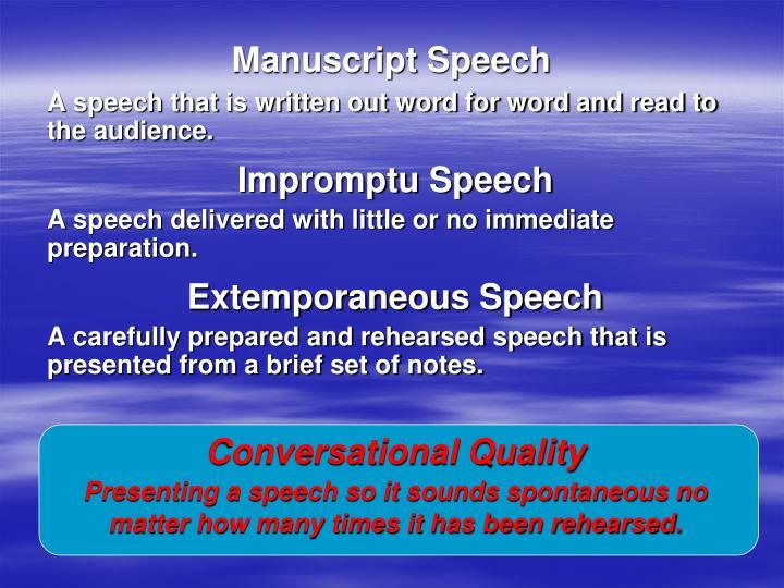 Manuscript Speech