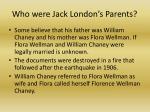 who were jack london s parents