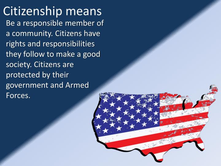 Citizenship means