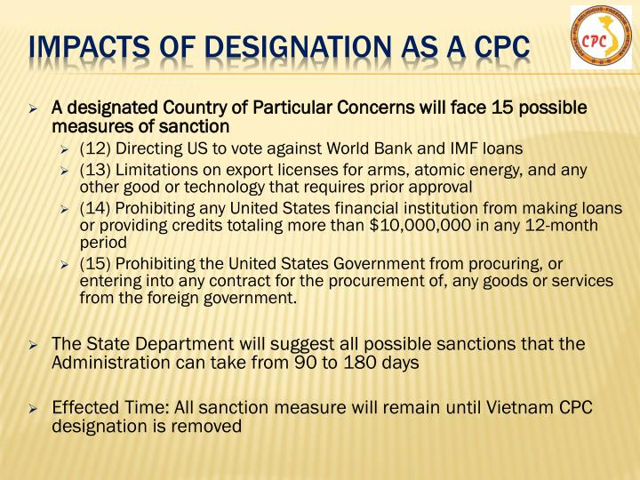 impacts of designation as a cpc