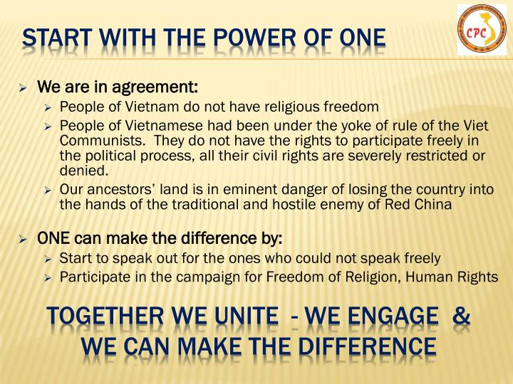 START WITH The power of one