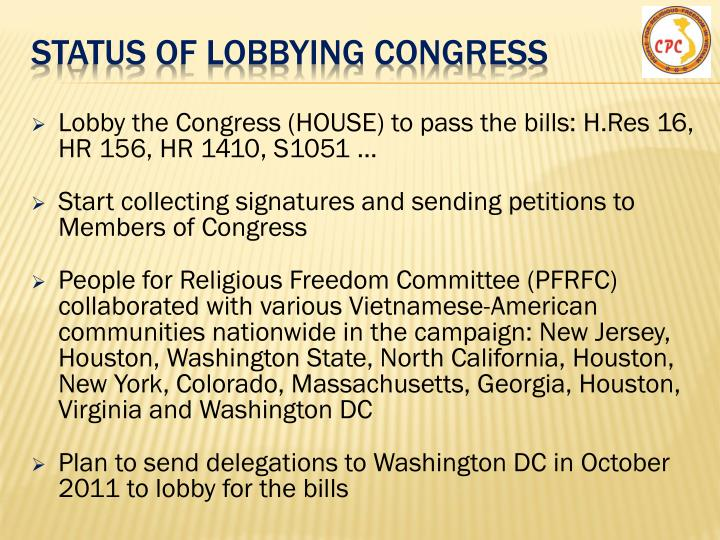 Status of lobbying CONGRESS