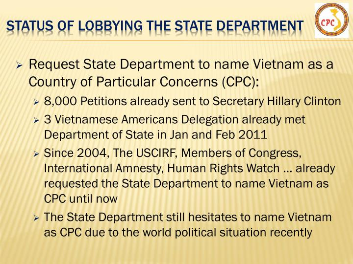 Status of lobbying the state Department