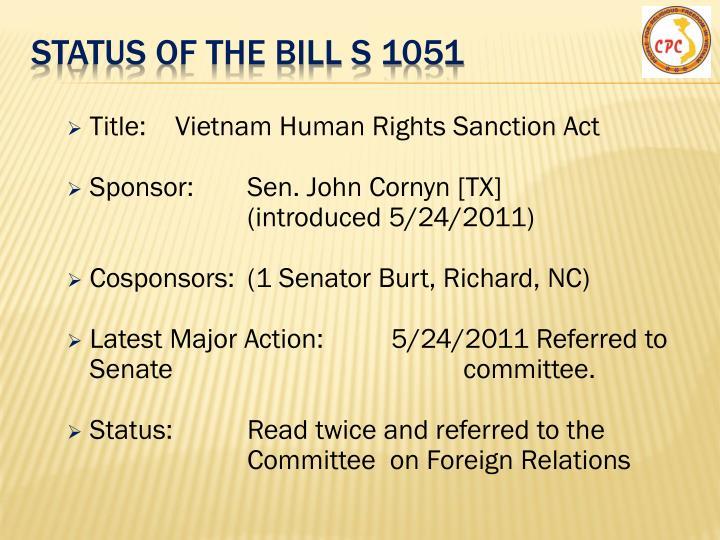 Status of the Bill s 1051