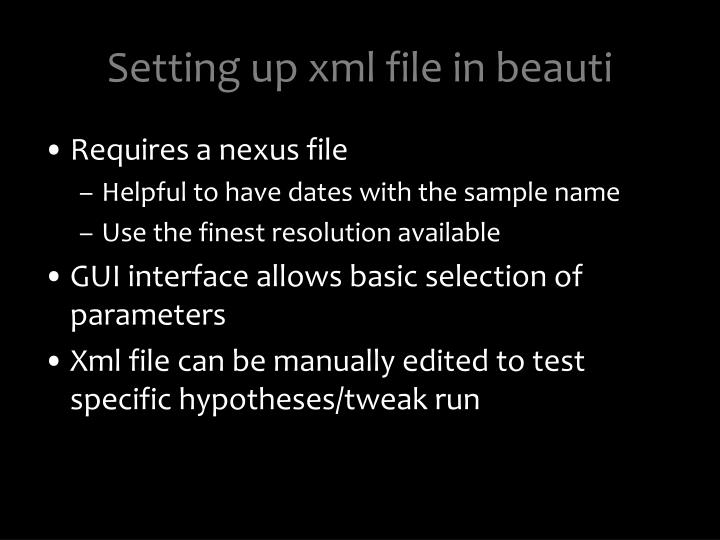 Setting up xml file in