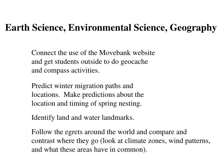Earth Science, Environmental Science, Geography
