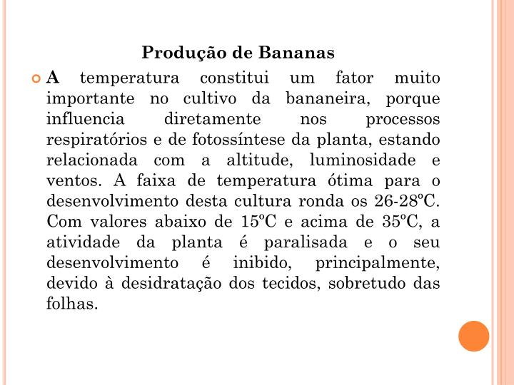 Produo de Bananas