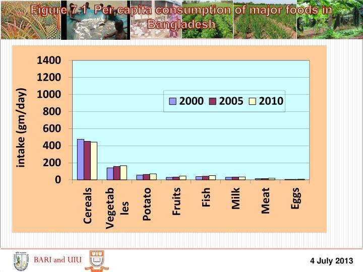 Figure 7.1  Per capita consumption of major foods in Bangladesh