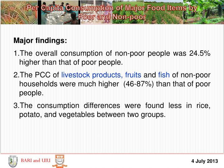 Per Capita Consumption of Major Food Items by        Poor and Non-poor