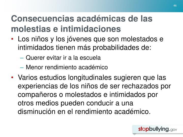 Consecuencias académicas de las molestias e intimidaciones