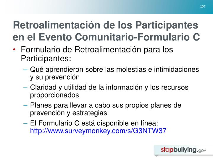 Retroalimentación de los Participantes en el Evento Comunitario-Formulario C