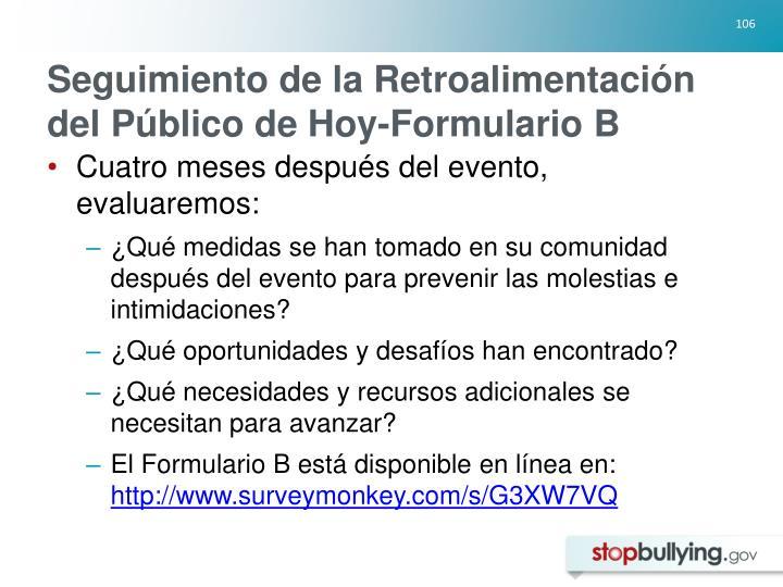 Seguimiento de la Retroalimentación del Público de Hoy-Formulario B