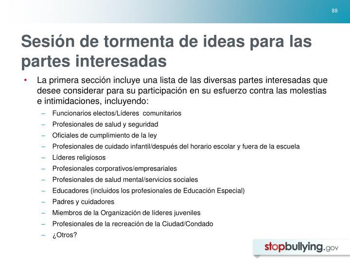 Sesión de tormenta de ideas para las partes interesadas