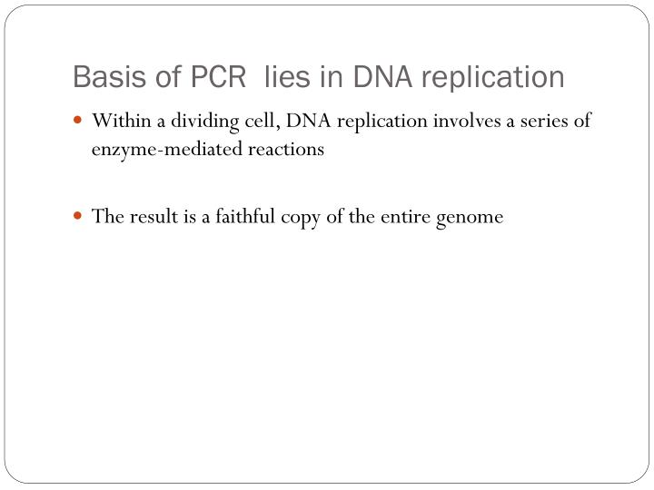 Basis of PCR  lies in DNA replication