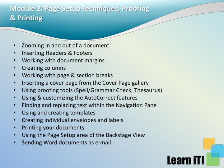 Module 2: Page Setup Techniques,