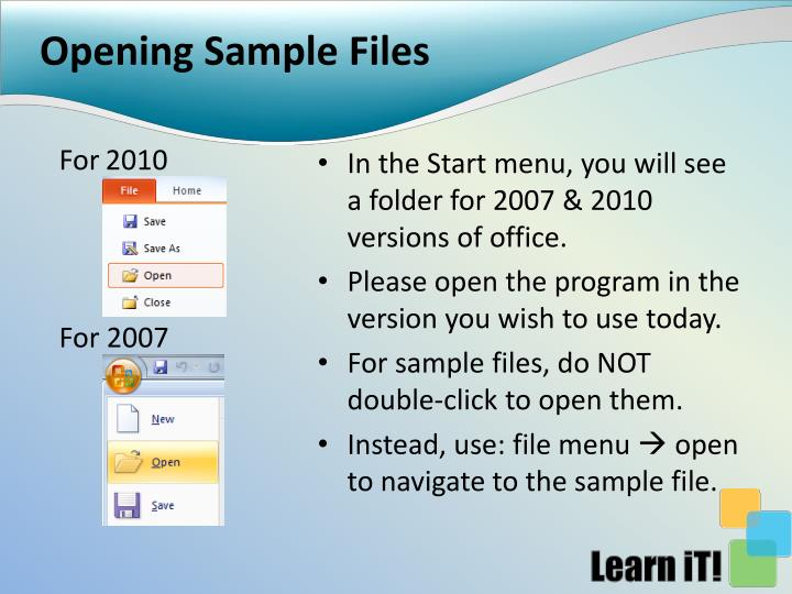 Opening Sample Files