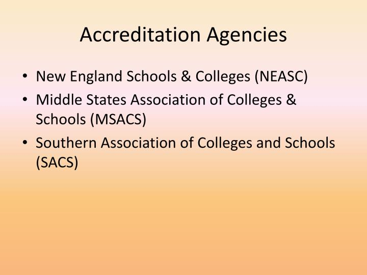 Accreditation agencies