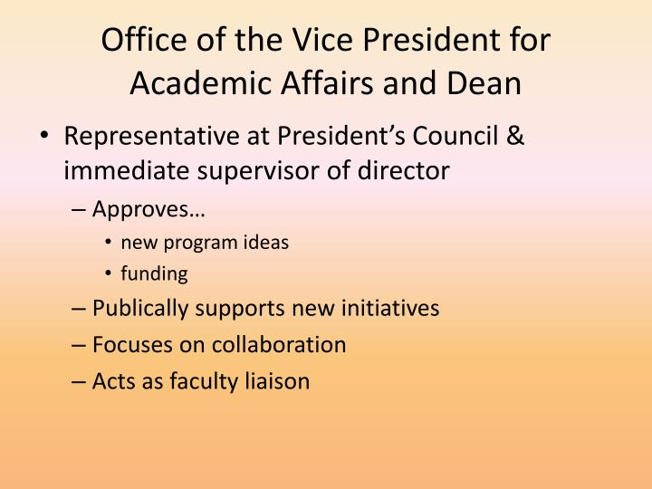 Office of the Vice President for Academic Affairs and Dean