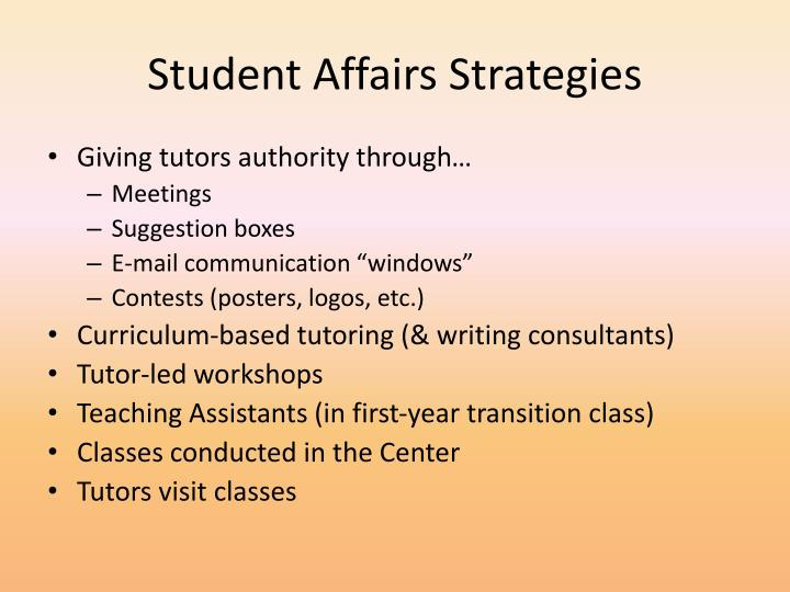 Student Affairs Strategies