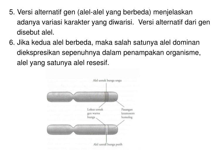 Versi alternatif gen (alel-alel yang berbeda) menjelaskan