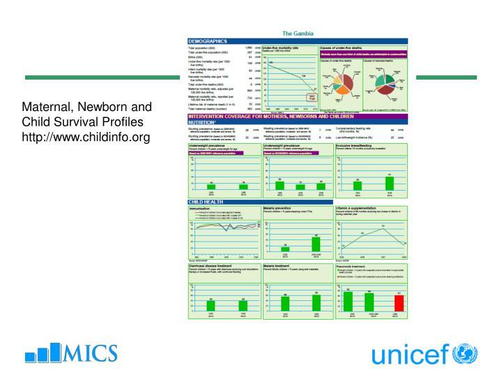 Maternal, Newborn and Child Survival Profiles