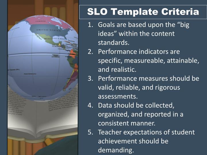 SLO Template Criteria