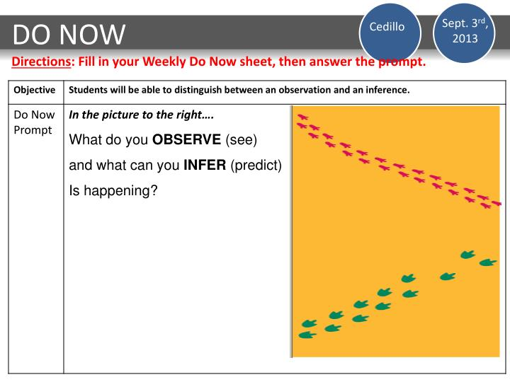 Do now directions fill in your weekly do now sheet then answer the prompt