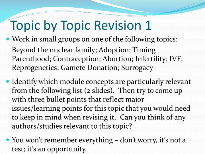 Topic by Topic Revision 1