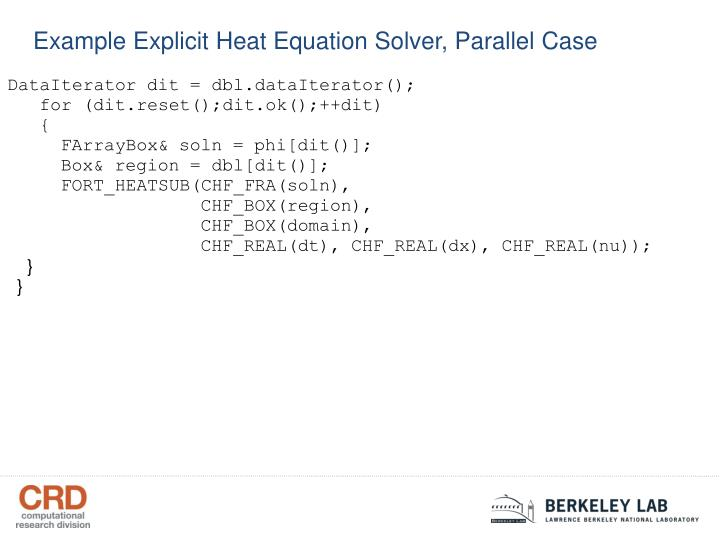 Example Explicit Heat Equation Solver, Parallel Case