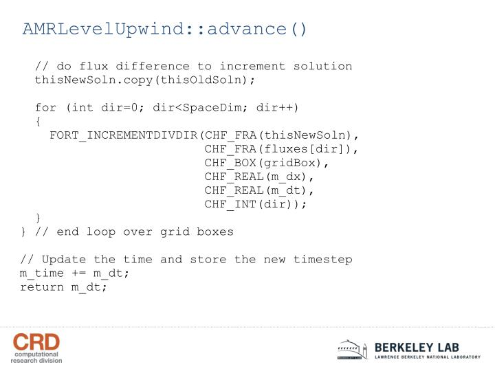 AMRLevelUpwind::advance()