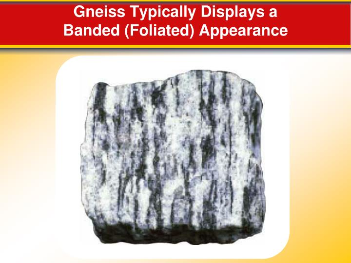 Gneiss Typically Displays a Banded (Foliated) Appearance
