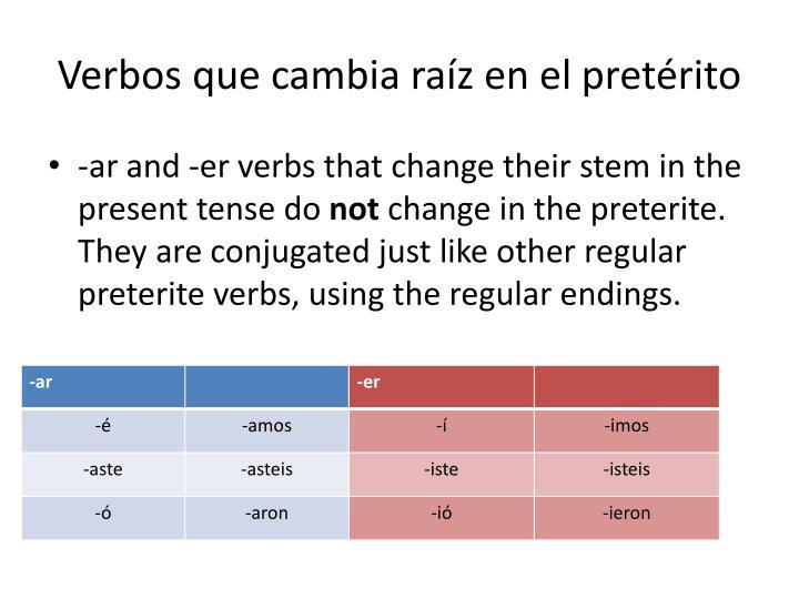 Verbos que cambia raíz en el pretérito